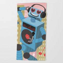 Robot DJ Beach Towel