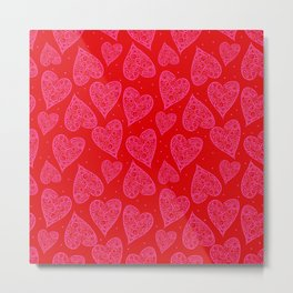 Valentine Hearts Light Red Backgroun Metal Print