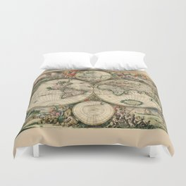 Ancient Map of the World - 1689 Duvet Cover