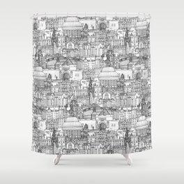 Edinburgh toile black white Shower Curtain