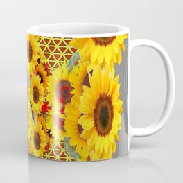 MODERN ABSTRACT RED CARDINAL YELLOW SUNFLOWERS GREY ART Coffee Mug