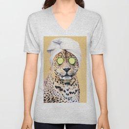 Leopard in a Towel Unisex V-Neck