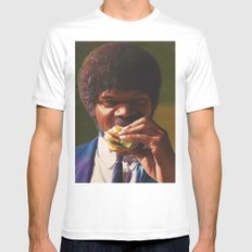 Tasty Burger White Mens Fitted Tee LARGE