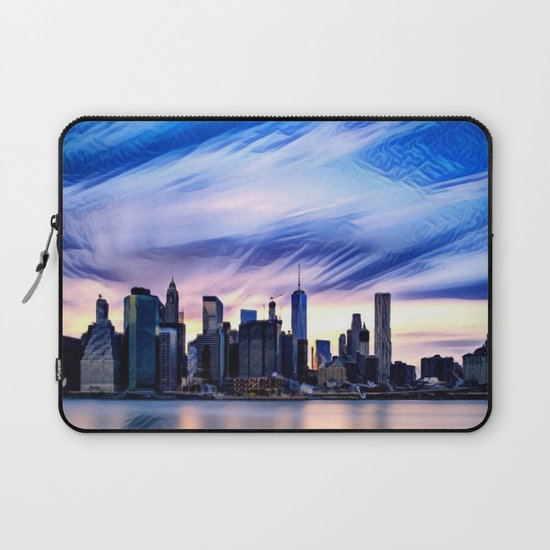 Romantic City Cityscape with Light Sunset and River Laptop Sleeve