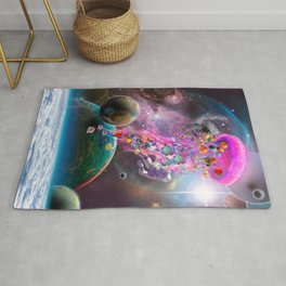 Pink Electric Jellyfish in Outerspace Rug
