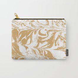 Suminagashi japanese spilled ink watercolor swirl marble pattern ocean gold and white minimalist art Carry-All Pouch
