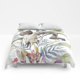 Short Day / Ram Animal Skull and Sarracenia Carnivorous Plant Platycerium Leaves Surreal Comforters