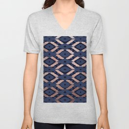 Bohemian Rose Gold Navy Blue Ikat Pattern This modern and chic bohemian pattern is perfect for a cla Unisex V-Neck