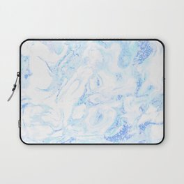 White Marble with Pastel Blue Purple Teal Glitter Laptop Sleeve