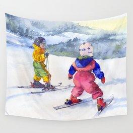 Watercolor skiing, skiers kids Wall Tapestry