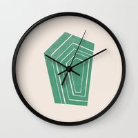 geode Wall Clocks featuring Geode II - in Emerald by Amber Barkley