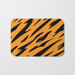 Bold and Beautiful Black and Orange Abstract Tiger Striped Pattern Bath Mat