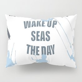 Wake Up Seas The Day Kiteboarder In Teal Shades Pillow Sham