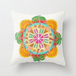 Summer Mandala on white Throw Pillow