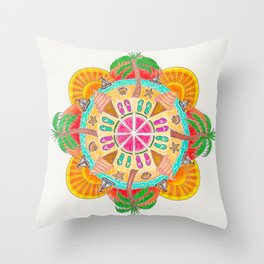 Summer Mandala on white Throw Pillow