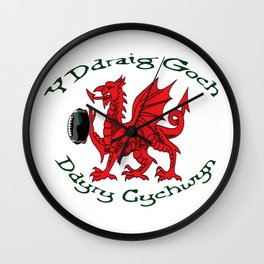 The Red Dragon Inspires Action Green Text Wall Clock