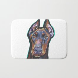 Fun Doberman Pinscher Dog Portrait bright colorful Pop Art by LEA Bath Mat