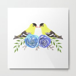 American goldfinch on roses Metal Print