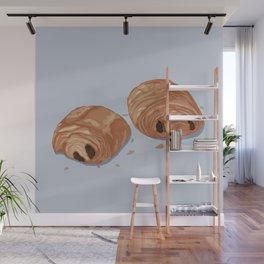 Deux pains au chocolat blue Wall Mural