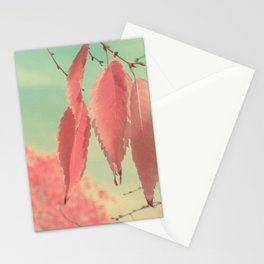 Flamingo Pink Autumn Leaves Stationery Cards