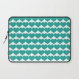 Mint heart pattern Laptop Sleeve