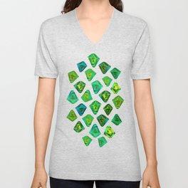 Green gemstone pattern. Unisex V-Neck