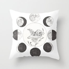 Raven Skull with Moon Cycle Throw Pillow