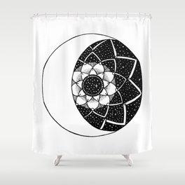 Crescent Moon Mandala Shower Curtain