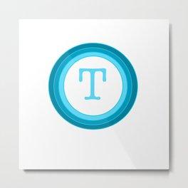 Blue letter T Metal Print