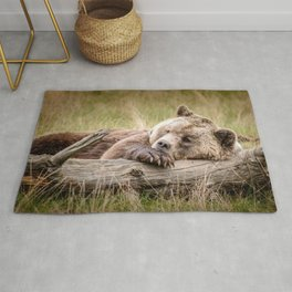 Big Beautiful Grizzly Bear Relaxing In Green Meadow Close Up Ultra HD Rug