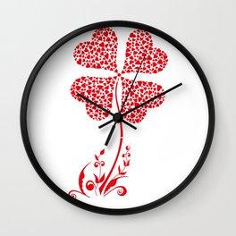 Lucky Four Leaf Clover Heart Valentine Flower Wall Clock