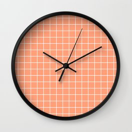 Light salmon - pink color - White Lines Grid Pattern Wall Clock