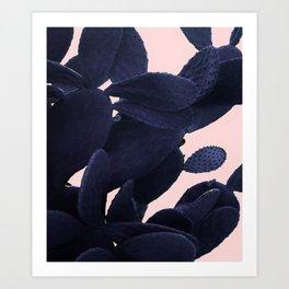 Purple Cactus On Pink Art Print