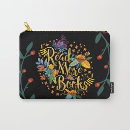 Read More Books - Black Floral Gold Carry-All Pouch