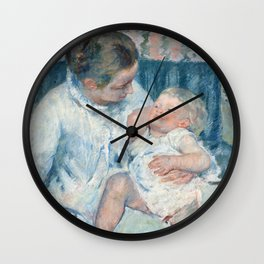 Mary Cassatt - Mother About to Wash Her Sleepy Child Wall Clock