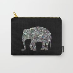 Sparkly colourful silver mosaic Elephant Carry-All Pouch