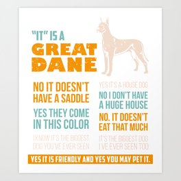 Great Dane Dog Puppy Gift for Dog Lovers & Owners Art Print