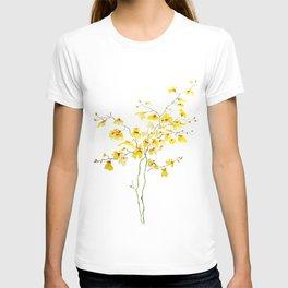 yellow Oncidium Orchid watercolor T-shirt