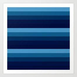 teal blue stripes Art Print