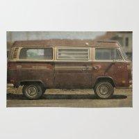 vans Area & Throw Rugs featuring Volkswagen Type 2 (T2) Seventies VW Kombi Van by Bruce Stanfield
