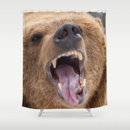 Majestic Scary Giant Grown Grizzly Bear Roaring Open Jaws Close Up Ultra HD Shower Curtain