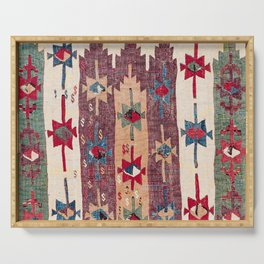 Horizontal Band Kilim 19th Century Authentic Colorful Purple Green Bands Vintage Patterns Serving Tray