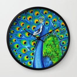 Wild and Free- Peacock Wall Clock