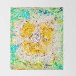 Watercolor Flower Painting, Modern Abstract  Bloom in Orange & Lime Green Throw Blanket