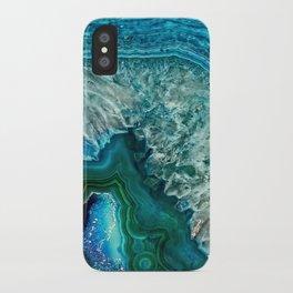 Aqua turquoise agate mineral gem stone- Beautiful Backdrop iPhone Case