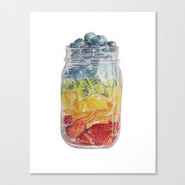 Watercolor Mason Jar Fruit Salad Canvas Print