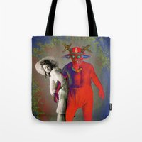 wrestling Tote Bags featuring WRESTLING WITH HER DEMON by Julia Lillard Art