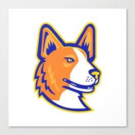 Cardigan Welsh Corgi Head Mascot Canvas Print