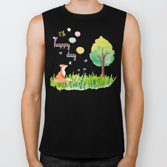 Fox- oh happy day on blue backround- Watercolor illustration Biker Tank