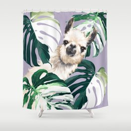 Llama with Variegated Monstera albo #1 Shower Curtain
